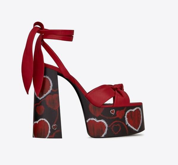 Mode Femmes D'été Plate-Forme Sandales Noeud papillon Dentelle Jusqu'à Bloc Talons Hauts Peep Toe Sandale Partie De Mariage Talons Top Grade
