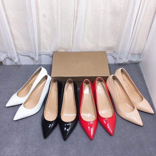 Fabrika! Kadınlar Siyah Çıplak Rugan Poined Parmak Kadınlar, Kadın Düğün ayakkabıları için 6cm 8cm 10cm Moda lRed Alt Yüksek Topuklar Ayakkabı