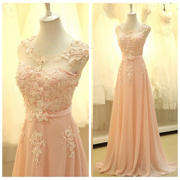 2019 Sheer Scoop Short Sleeves Lace Appliques A-Line Bridesmaids Dresses Beaded Long Chiffon Vestidos De Bridesmaid Honor Of Maid Cheap