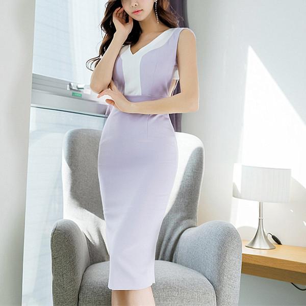 2019 mulheres sexy sem encosto sem mangas com decote em v roxo magro party club dress bodycon lápis dress verão