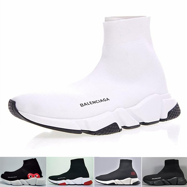 НОВЫЕ дизайнерские туфли Speed Sock Sneakers Stretch Mesh Высокие ботинки для мужчин женские черные белые красные блестящие кроссовки на плоской подошве US5-12