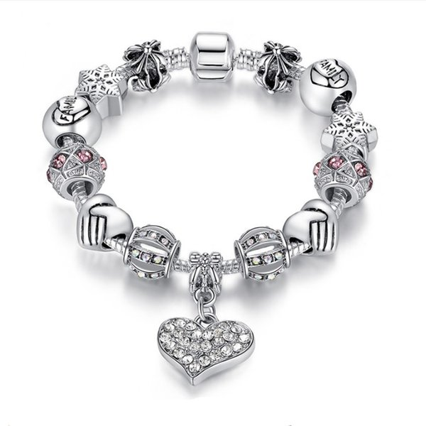 best selling 16-21cm Charm Beads Bracelet 925 Silver Pandora Bracelets For Women as a gift Diy Jewelr Free shipping