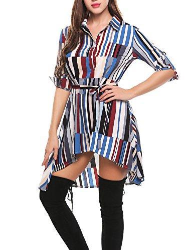 Zeagoo Women Summer Casual A-Line Shirt Dress Half Placket Geometric Asymmetrical Short Print Dresses