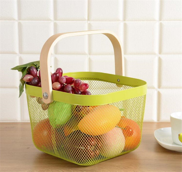 3 Colores Cosméticos Almacenamiento de maquillaje Organizador Mango de madera cestas de metal fruta Ruishato hierro cestas domésticas 2 unids
