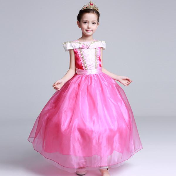 Costume da Halloween Bambini vestito da principessa rosa giallo per bambini gioca gonna da spettacolo teatrale Costume da tema di Halloween spedizione gratuita