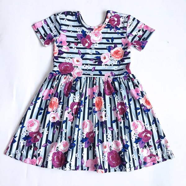 2019 Summer Hot New Baby Girl Clothes Strip Rose Print Children's Round Neck Short Sleeve A-Line Dress