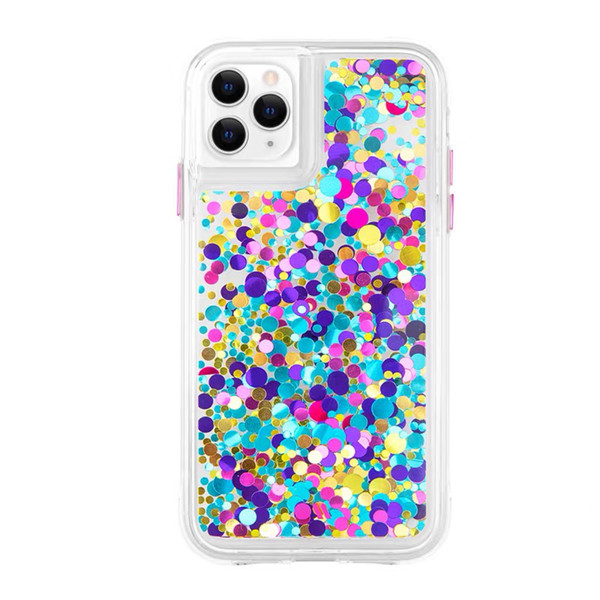 Colorful Bead Full Cover Quicksand Design for iPhone 11 Pro Max TPU PC Floating Pearl Heavy Duty Protective Case