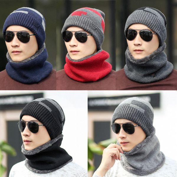 Mode chapeaux d'hiver écharpe femme Homme épais coton d'hiver Accessoires Set Femme Homme Bonnet écharpe 2 pièces / Set
