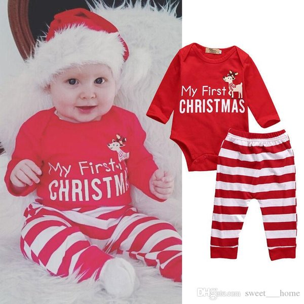 New My First Christmas Baby Boy Girls Print Tops Romper Clothes Sets Christmas Party Clothing Wear 4PCS Snow Outfit Set Clothes