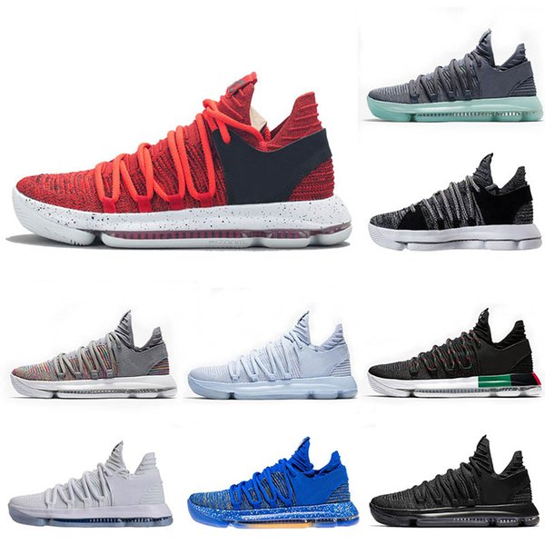 New KD 10 Mens Basketball Shoes BHM Anniversary Blue Dark Stucco Triple black white trainers men sports designer shoes sneakers US 8-12