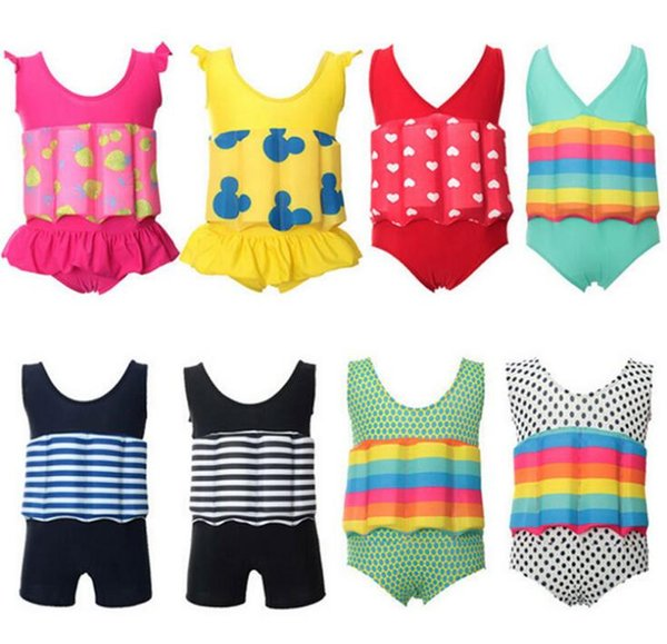 2019 Floating Buoyancy Swimsuits Baby Boy/Girl Swimsuits Detachable Swimwear Training Kids Swimming Float Suits 8color