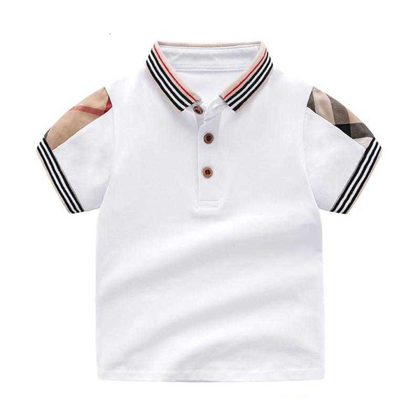top popular Baby Boys Retail Lapel Solid Color T Shirt for Summer Kids Boys Girls T-Shirts Clothes Cotton Toddler Tops Toddler Girl Shirts Girls Shirt 2020