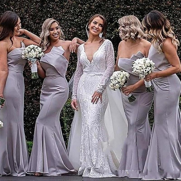 Zarif Mermaid Straplez Uzun Nedime Elbiseler Yeni Batı Ülke Bahçe Düğün Konuk Elbise Pleats Trompet Uzun Akşam elbise