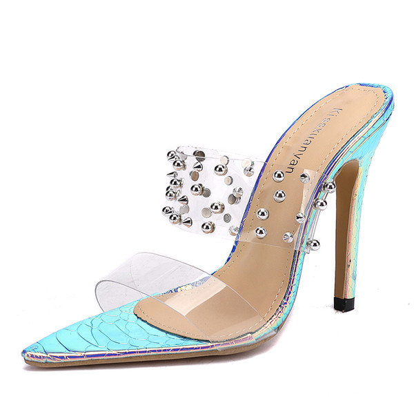 top popular Big size 35 to 40 41 42 Sexy transparent PVC rivets pointy toe high heel slide shoes summer slides 2020