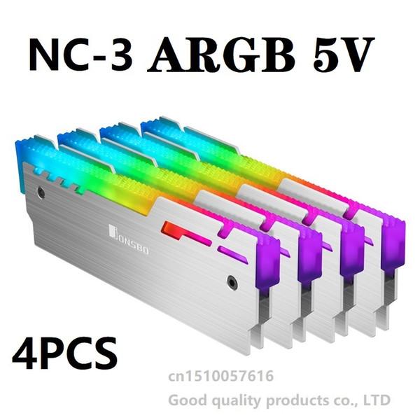 JONSBO NC-3 Memory Cooler Glowing Cooling Vest 5V ARGB LED light Aluminum Radiator Desktop RAM Heatsink 1 Set 4 pieces