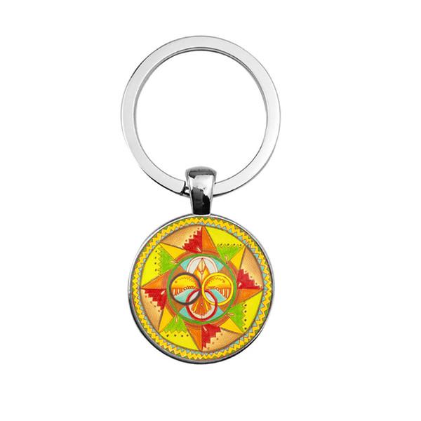 2019 new fashion creative pendant keychain DIY time gem mandala keychain wholesale supply keychain pendant