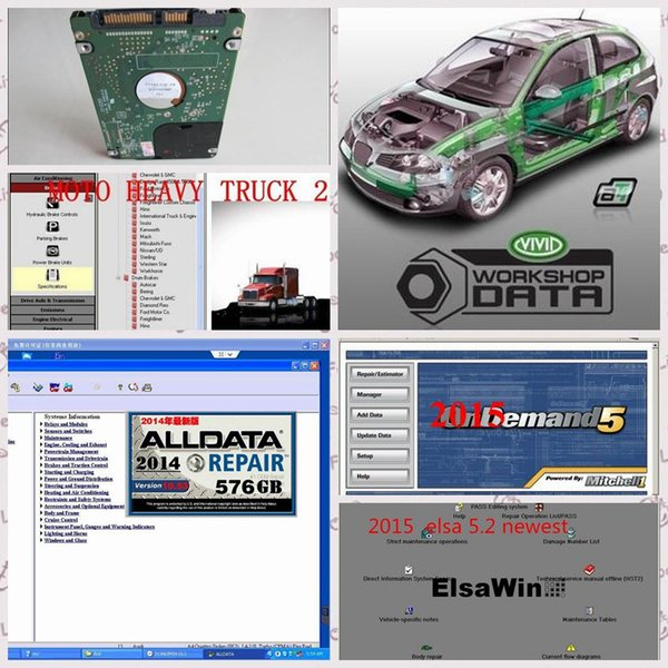 2018 newest auto repair software all data 1TB HDD 10.53 alldata and mitchell software 2015 Vivid workshop in1tb new usb harddisk
