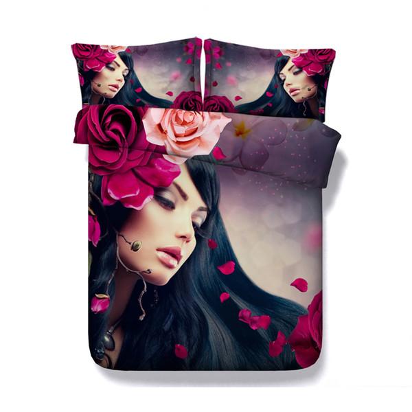 Flower duvet rose pink Bedspreads Floral Duvet Cover Set 3 Piece Bedding Set With 2 Pillow Shams Coverlet Makeup Bed Set Comforter Cover