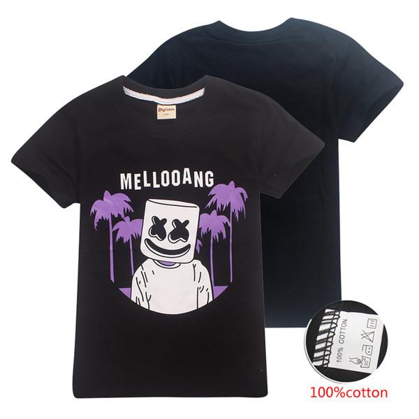 6-14 т Kid Boys футболка DJ Marshmello черные детские футболки 100% хлопок детская дизайнерская одежда для мальчиков детская одежда DHL SS88-U
