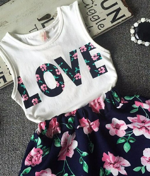 Baby Girls Clothes LOVE Tops + Falda de flores 2pcs Pretty Flowered Cotton Kids Sets 2018 Summer Children Girl Clothing Set
