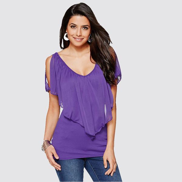 2019 nueva tendencia de moda estilo casual estilo europeo y americano modelos de explosión gasa murciélago costura costura camiseta femenina superior