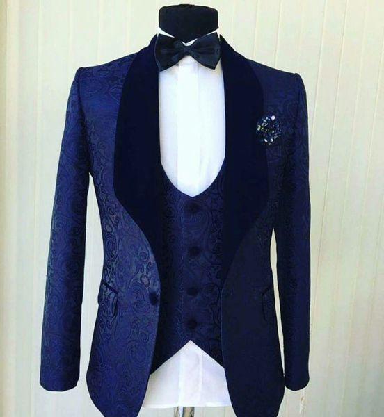 Popular Azul Marinho Jacquard Homens Casamento Smoking Xaile De Veludo Lapela Noivo Smoking Homens Jantar / Darty Vestido de 3 Peça Terno (Jaqueta + Calça + Gravata + Colete) 16