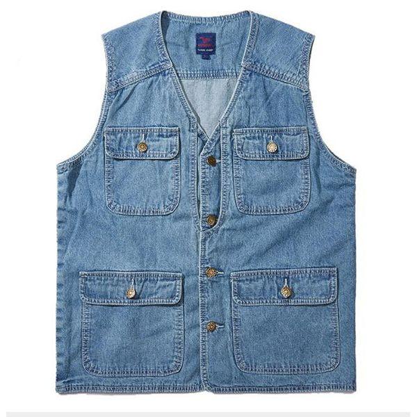 Denim Vest Men Cotton Sleeveless Jackets Blue Casual Fishing Vest with Many Pockets Plus Size 4XL Outdoors Waistcoat