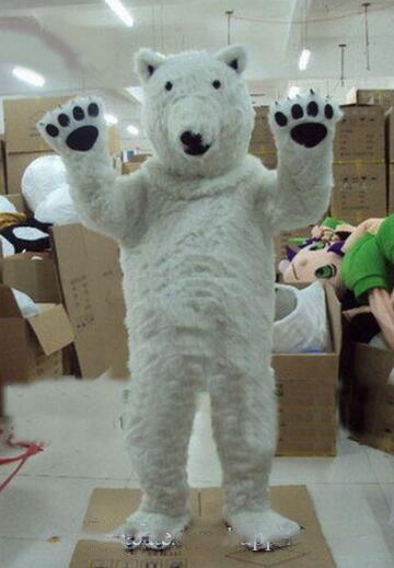 Costumi nuova professione mascotte dell'orso polare di Halloween del fumetto adulto di formato vestito da partito di bianco peluche operato da trasporto