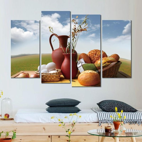 4 sets bread milk eggs dinner canvas print arts pictures for dining room decor