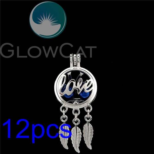 12x R-K790 Dream Catcher Letter Love Oyster Pearl Cage Jewelry Making Essential Oil Diffuser Beads Cage Locket Pendant