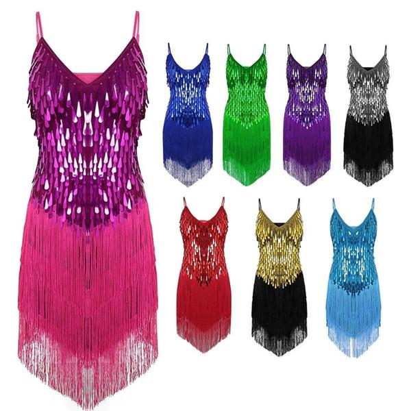 Performance Abbigliamento da ballo per donna Salsa Bretelle Abito con scollo a V Concorso Costume Set da ballo Paillettes Frange Ragazze Abiti latini