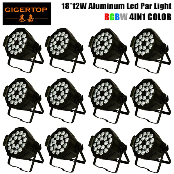 Cheap Price 12 Units 18x12W RGBW 4IN1 Color Mixing Aluminum Shell Led Par Light Professionl Led DMX Lighting Fan Cooling 110V-220V