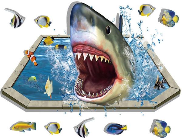 3d Shark Seabed Mundo Terras Aderência À Terra do Quarto das Crianças Decoração do Quarto Adesão Da Parede Moderna Decoração de Casa Parede Aderência PVC