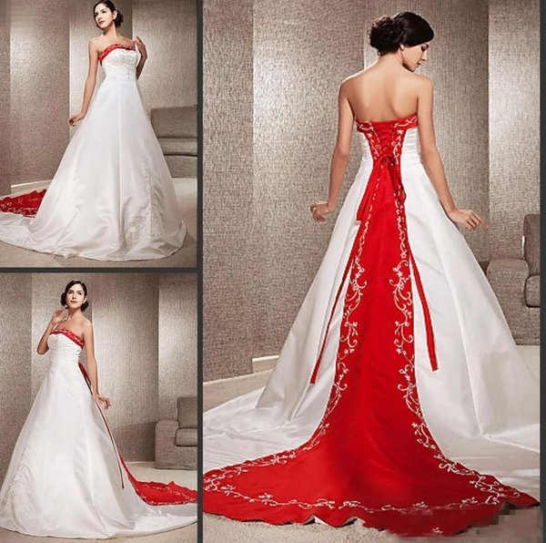 Discount White And Red Embroidery A Line Wedding Dresses Plus Size  Strapless Satin Chapel Country Bridal Gowns Lace Up Back Wedding Dresses  Bridal ...