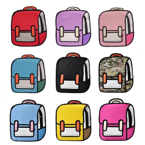 Flyone Mode Nette Student Taschen Frauen Rucksack 3D Jump Style 2D Zeichnung Cartoon Zurück Tasche Comic Unisex Rucksack Bolos FY0189