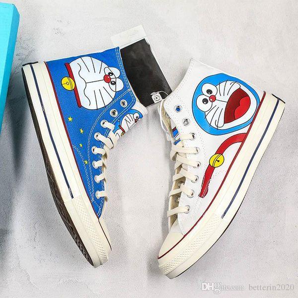2019 sohbet Taylor YILDIZ Chuck 70 Doraemon Tuval Ayakkabı Graffiti Yüksek Yarım Boyut Originals Klasik Kaykay Sneakers Kadın Erkek