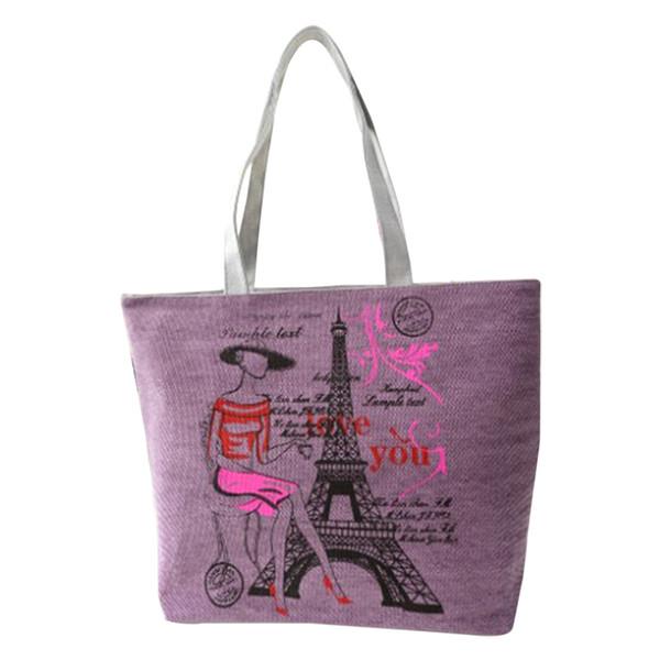 Cheap Iron Tower Canvas Handbag Preppy School Bag for Girls Women's Handbags Cute Bags Women bag
