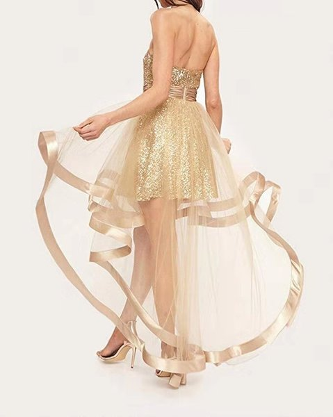 Prom Dresses Sexy heart-shaped collar front short back long net cloth irregular sequins shiny party dress back zipper customized package