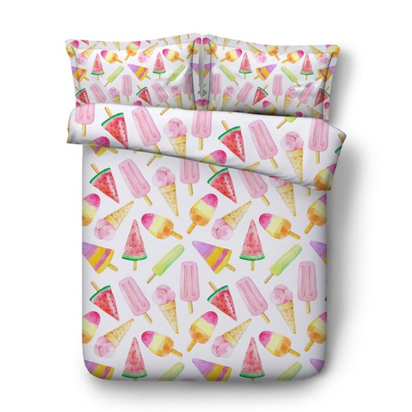 kids duvet cover set watermelon ice cream bed linen for children girls bedding sets twin size bedclothes queen king quilt covers