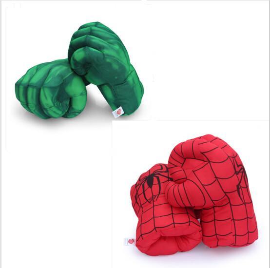 incredible hulk 13'' Incredible Hulk Smash Hands + Spider Man Plush Gloves Spiderman Performing Props Toys Free Shipping