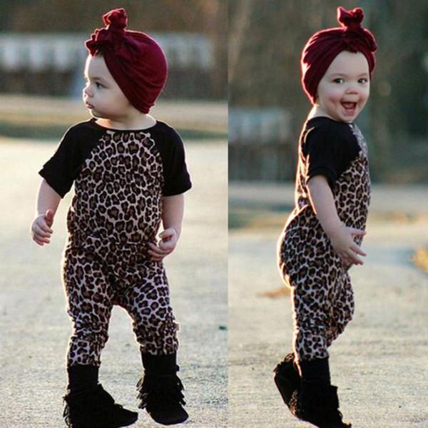 Primavera Autunno neonato Pagliaccetto Leopard Baby ragazzi e ragazze vestiti manica corta pagliaccetto del bambino 6-26 mesi Tuta del bambino