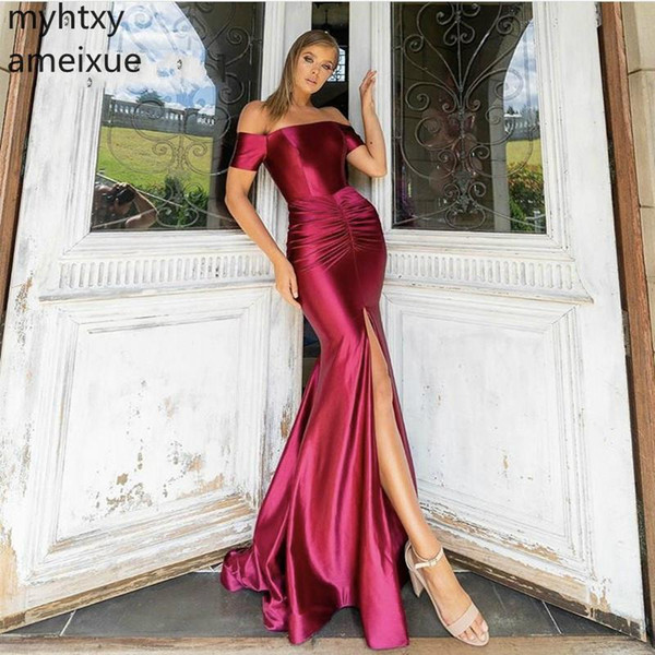 Boat Neck Off The Shoulder Prom Plus Size Evening Gown Dresses For Women V-neck Sleeveless Mermaid Silk Satin Cocktail Party
