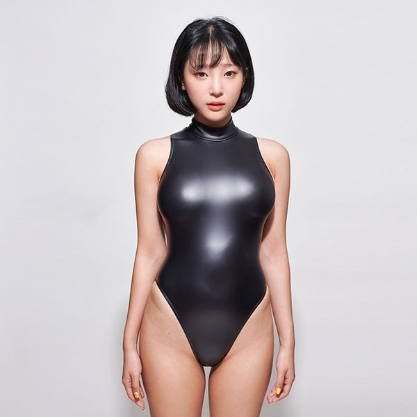 Turtleneck PU Leather Bodysuit Women High Cut Thong Bikini One Piece Swimsuit Sexy Bodysuits Swimwear Sexy Tight Sukumizu Suit