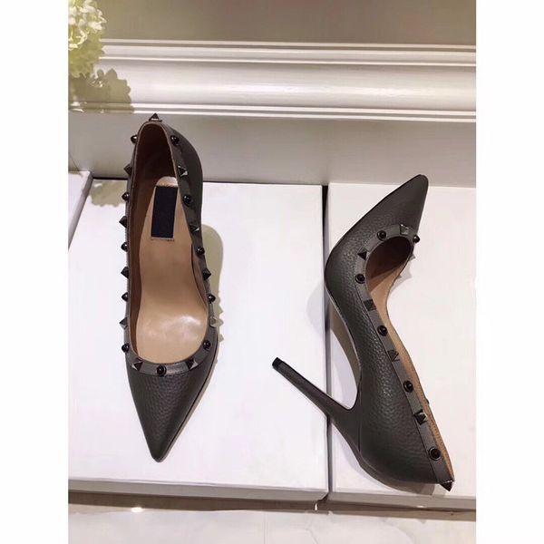 En Kaliteli 2019 marka tasarım Deri Kadın Saplama Sandalet Slingback Bayanlar Seksi Yüksek Topuklar Moda ayakkabı by18120803 Pompalar