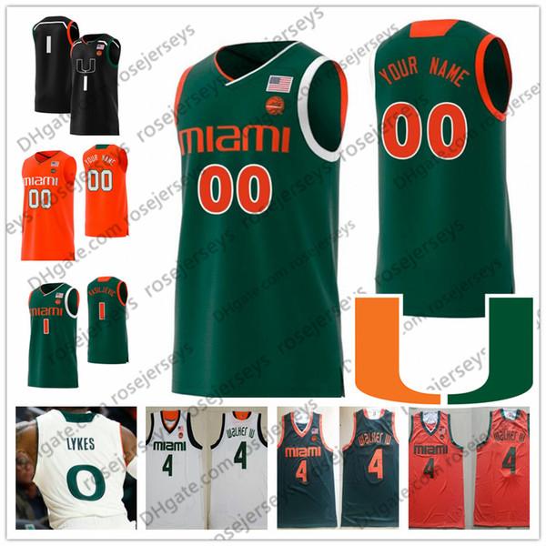 Custom Miami Hurricanes 2019 Basketball Any Name Number Green Orange White Black 0 Chris Lykes 1 Dejan Vasiljevic Men Youth Kid NCAA Jersey