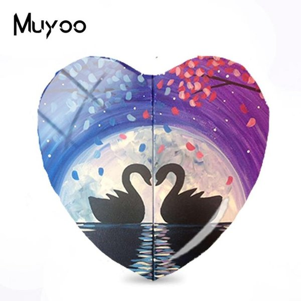 2019 New Black White Cats Heart Jewelry Couple Love Art Heart Glass Dome Cabochon Animals Cabochons For Women