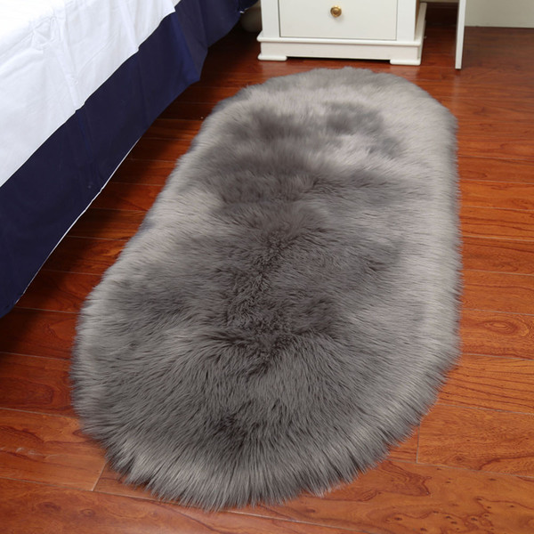 Home Soft Rug Chair Cover Artificial Sheepskin Wool Warm Hairy Carpet Seat Mats Rug Living Room Balcony Bathroom Carpet Set