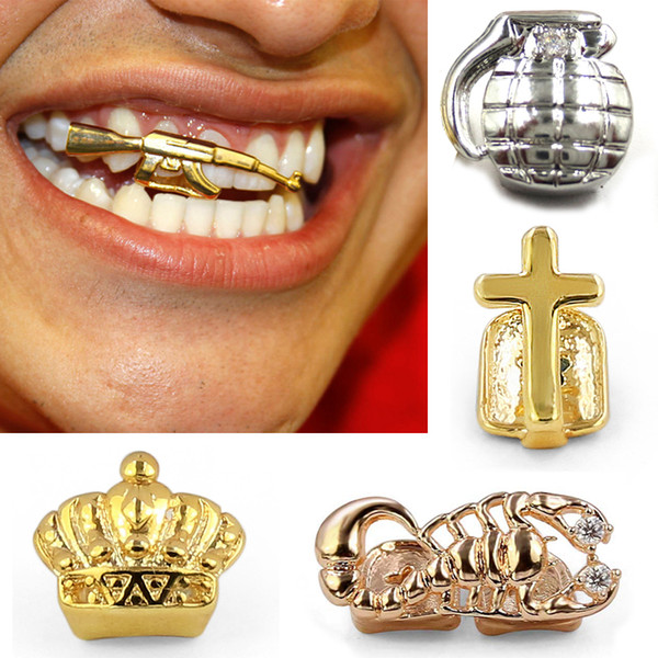 18K Gold Braces Punk Hiphop Single Teeth Grillz Crown Cross Gun Dental Mouth Fang Grills Tooth Cap Cosplay Party Rapper Jewelry Wholesale