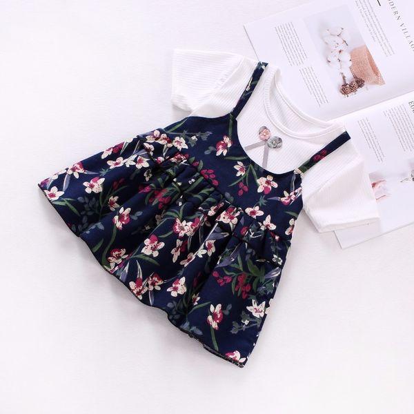 good quality 2019 Baby Girl Summer Dress Top Short T-Shirt+Strap 2Pcs Baby Girl Princess Dress Bow Floral Print Cotton Kids Clothes