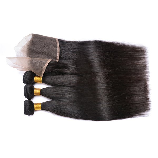 Wholesale Brazilian Straight Hair With Closure 4x4 Lace Closure With Bundles 100% Brazillian Straight Virgin Human Hair Extensions